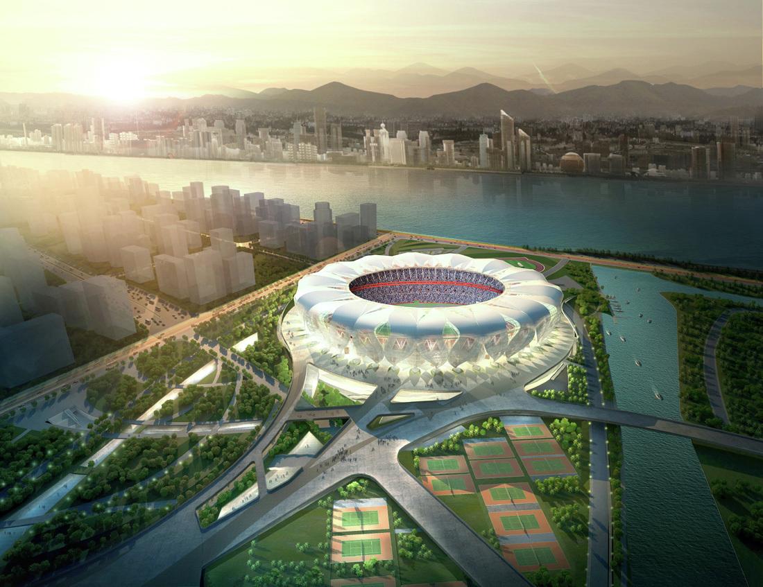 Lo stadio del centro sportivo olimpico di Hangzhou, ispirato alla natura. Foto da: Pinterest.com