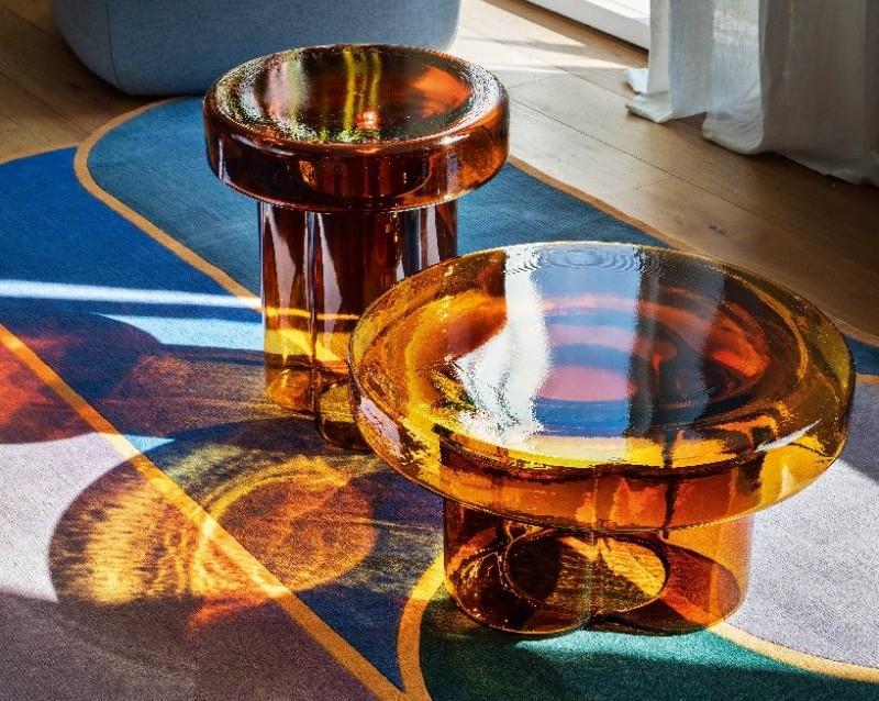 Murano: de onweerstaanbare collectie tafels van geblazen glas. FOTO: Designboom