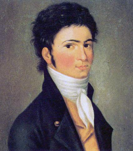 Retrato de un joven Ludwig van Beethoven, realizado por Carl Traugott Riedel