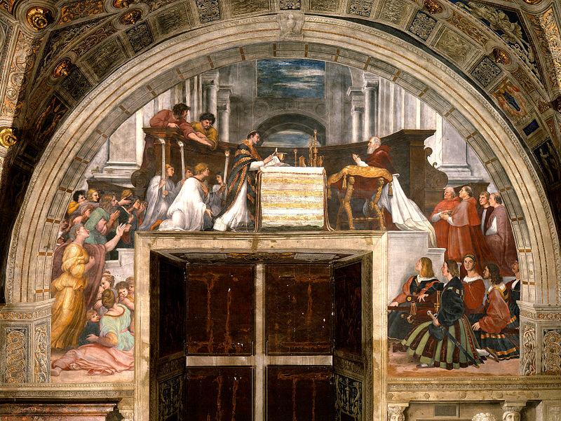 La misa de Bolsena, 1514, Estancia de Heliodoro.