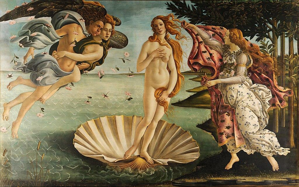 El nacimiento de Venus (1484). Uffizi, Florencia