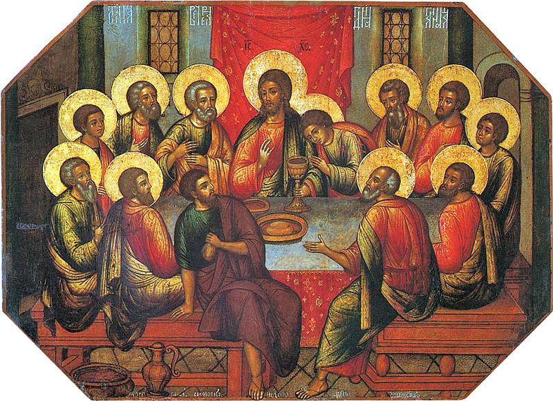 Los cuadros de arte sacro de iglesias cristianas están decorados con hojas de oro para destacar aspectos relevantes como los halos de los santos
