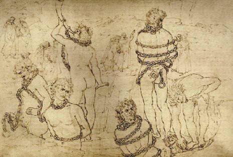 Dibujo de Sandro Botticelli: Los seis gigantes desnudos en torno al pozo, Divina Comedia, Infierno, Canto XXXI, Gabinete de dibujos, Berlín.