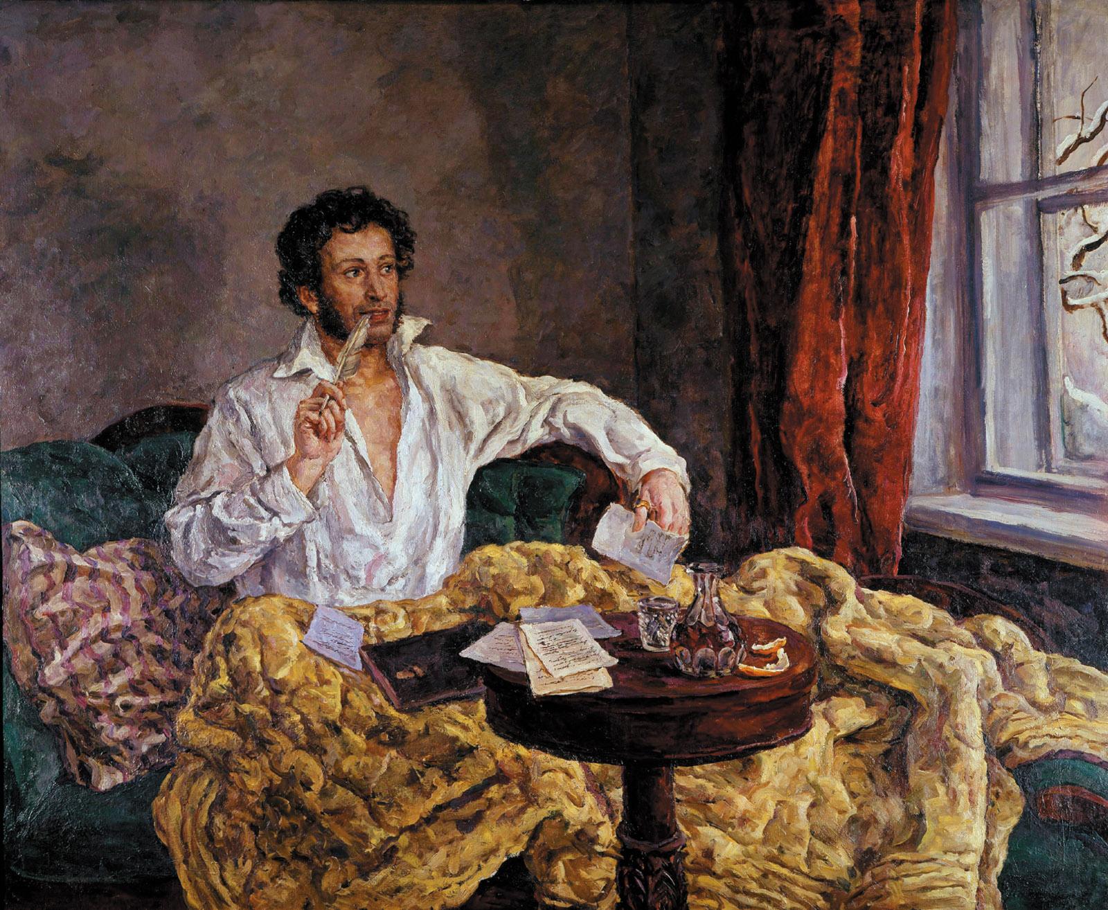 пушкин с утра сидит за столом пишет стихи гусиным пером развлекательных заведений