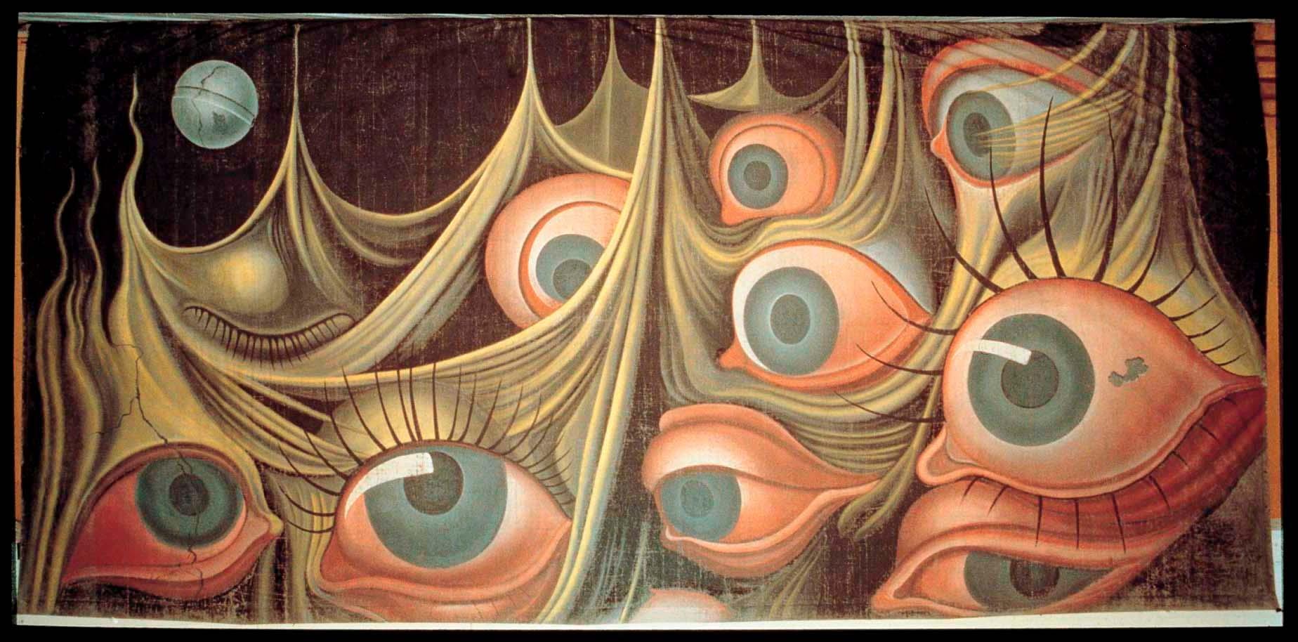 Pintura de ojos surrealistas entre cortinas.