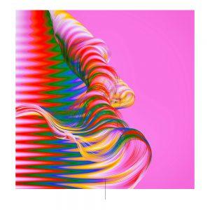 Fondo color magenta y líneas rojas, verdes, azules, blancas y amarillas.
