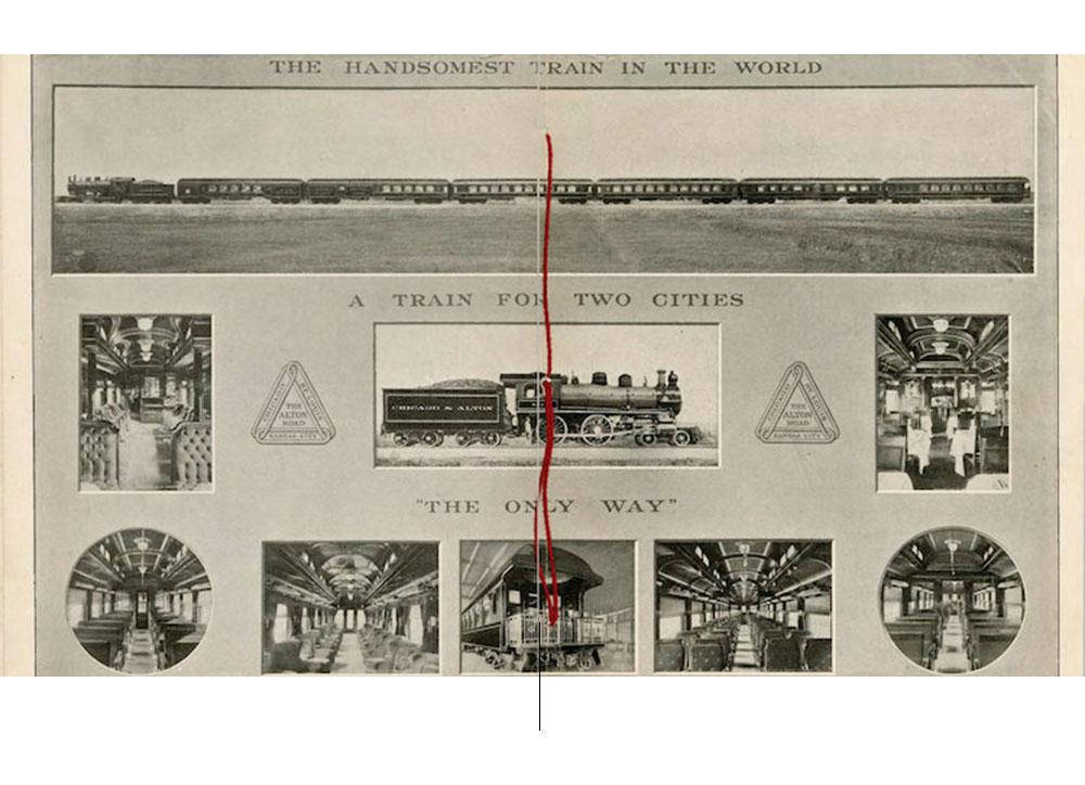 Promotiefolder van de trein 'The Alton Limited' met het resultaat van het panorama.