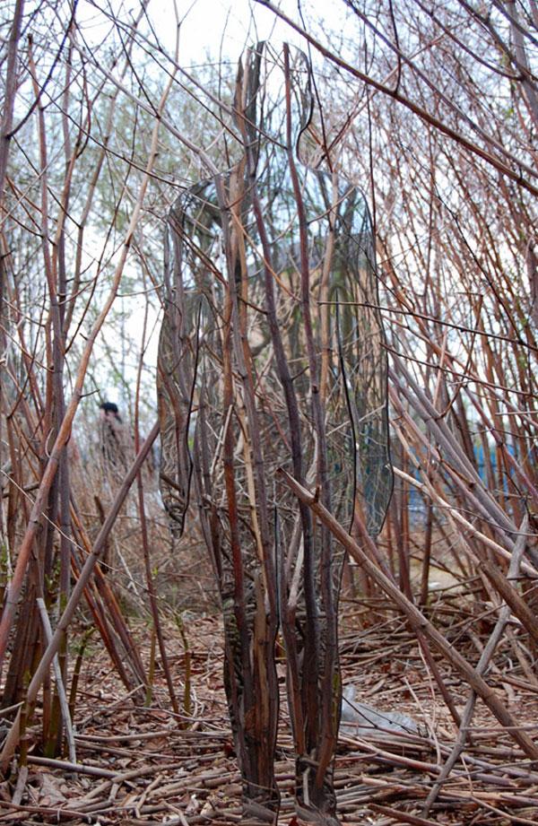 Takken van bomen en weerspiegeling van persoon.