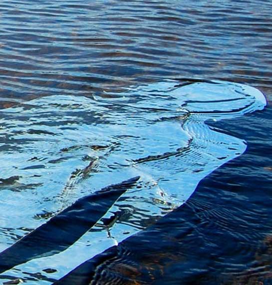 Weerspiegeling van persoon in het water.