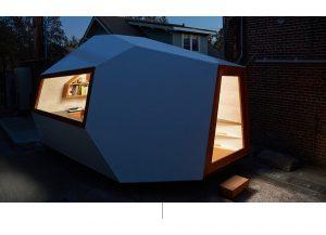 Arkitektonisk struktur med dør og vindu.