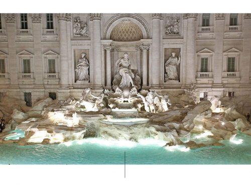 Fuente monumental estilo barroco en Roma.