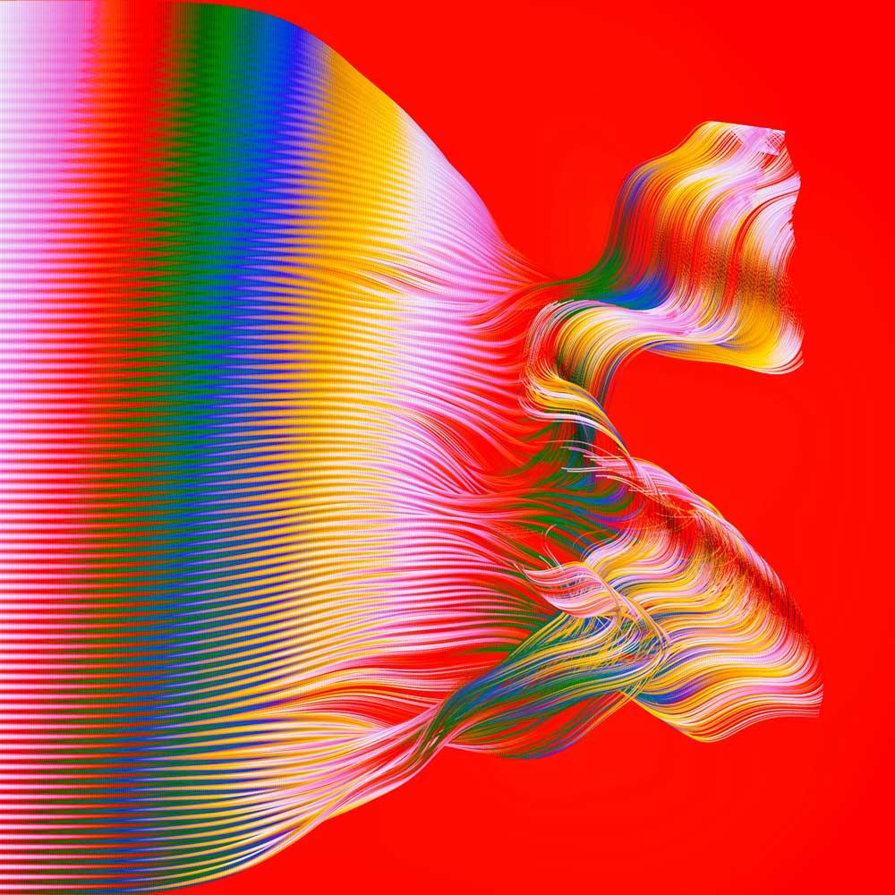 Σχήμα από λεπτές γραμμές λευκού, μπλε, πράσινου, κόκκινου και κίτρινου χρώματος σε κόκκινο φόντο.