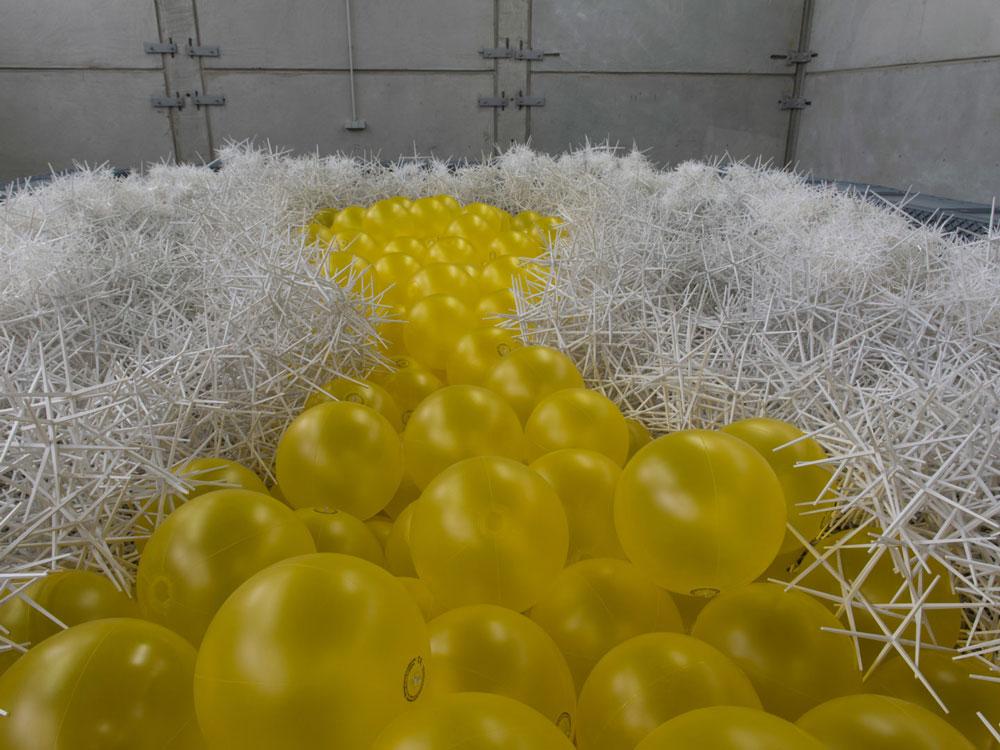 पीले रंग की गेंदें और स्ट्रॉबेरी ब्लेमकोस।