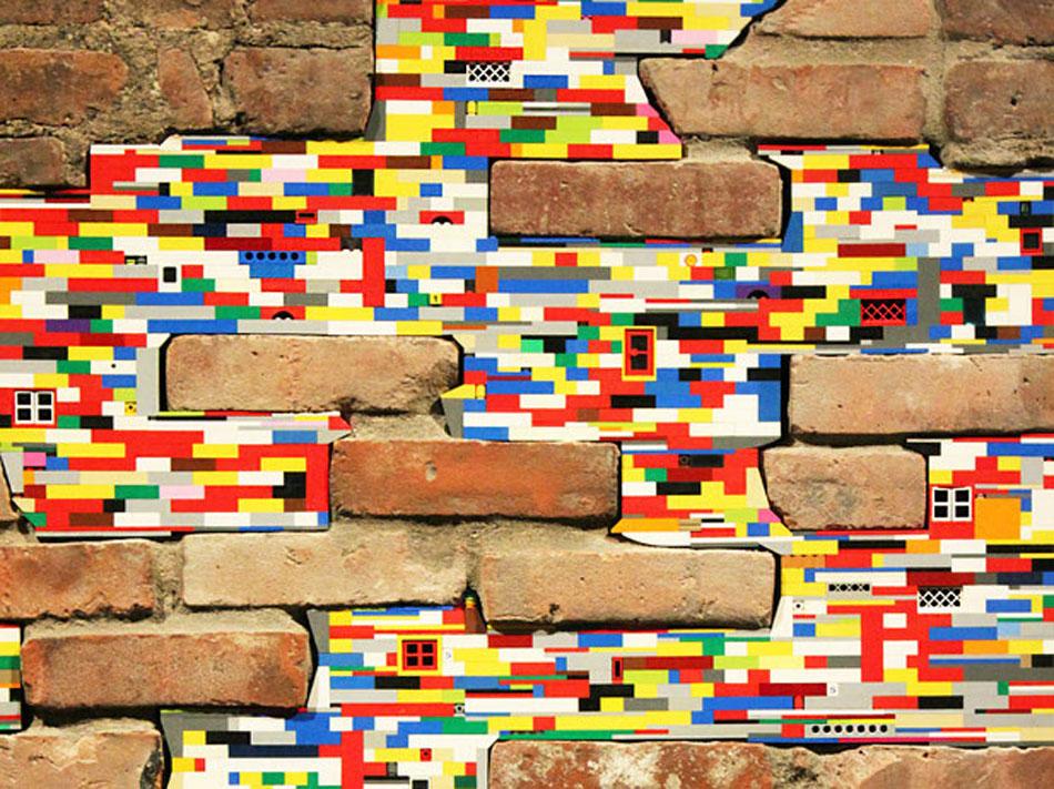 Brick blocks and Lego pieces.