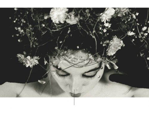 Portret van een vrouw met bloemen in haar.