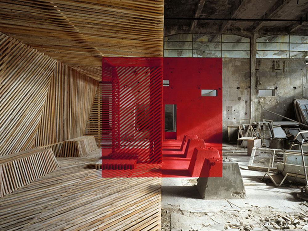 Camera con trame diverse e scatola rossa.
