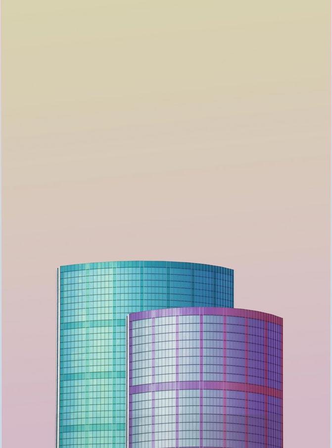 Composición de dos constuccione color morado y azul sobre fondo lila de la artista Simone Hutsch.