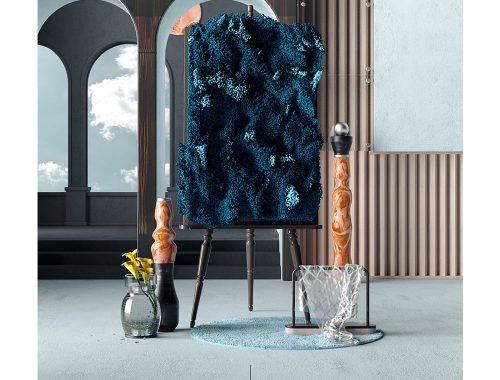 चित्रफलक पर कलाकार माटूस क्राल का कार्य और पक्षों पर vases।