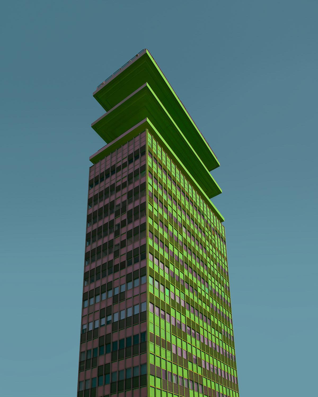 Fotografía del exterior de edificio color verde.