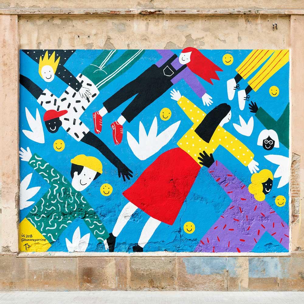 Perrine Honoré arbeid av menneskelige figurer på en blå bakgrunn.