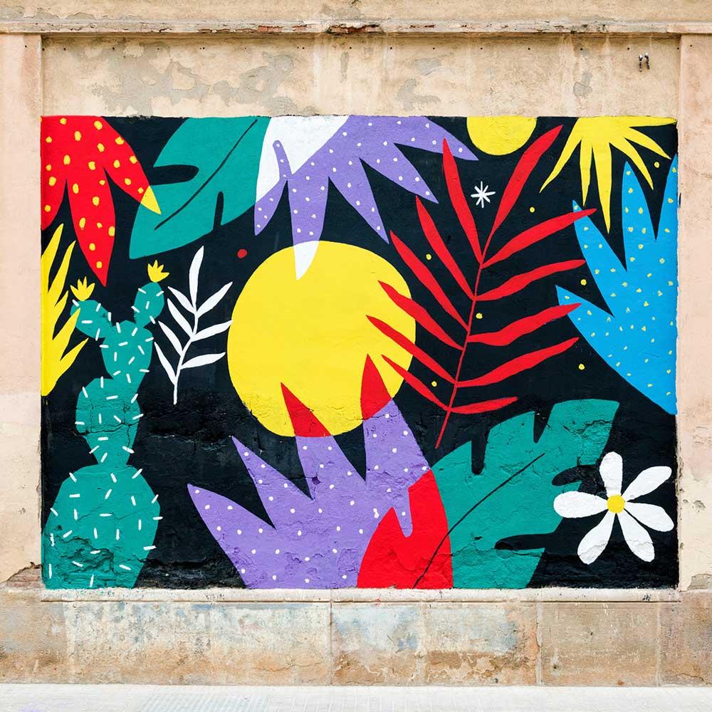 Maleri av Perrine Honoré med illustrasjoner av blomster. av forskjellige farger.