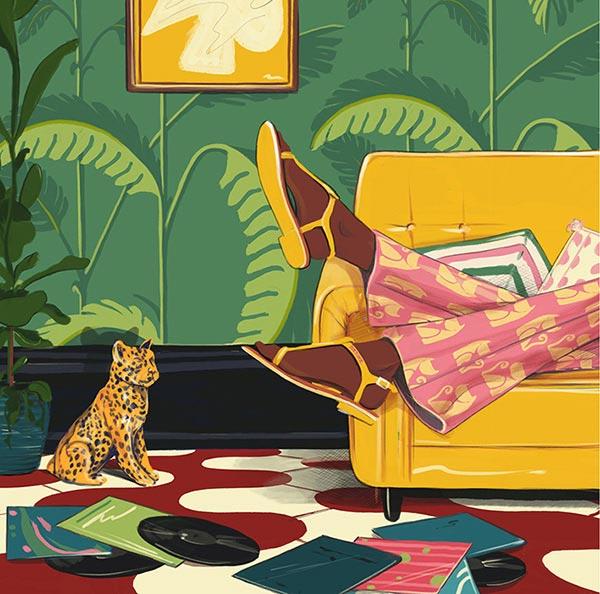 Ilustración de habitación con mujer sobre sillón amarillo, discos de acetato en el ppiso y escultura de leopardo.