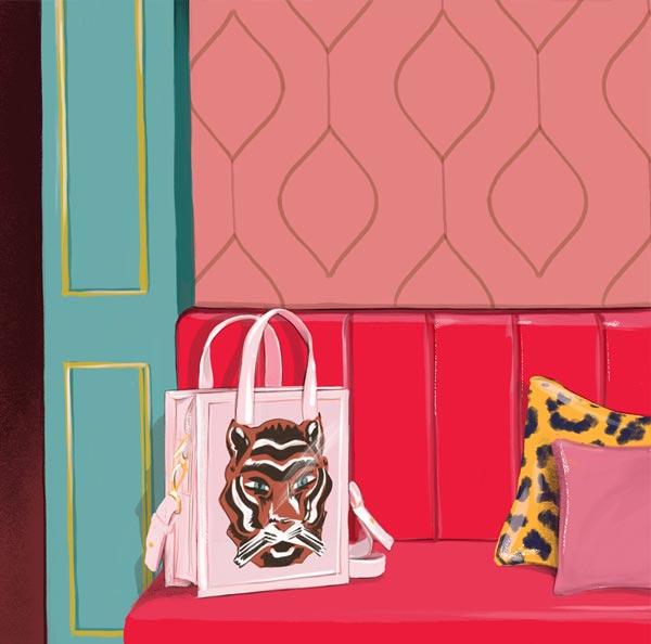 ilustración de sillón rojo con bolsa blanca y cojines rosa y amarillo.