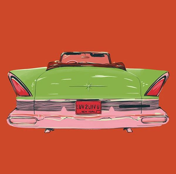 Ilustración de auto verde sobre fondo rojo.