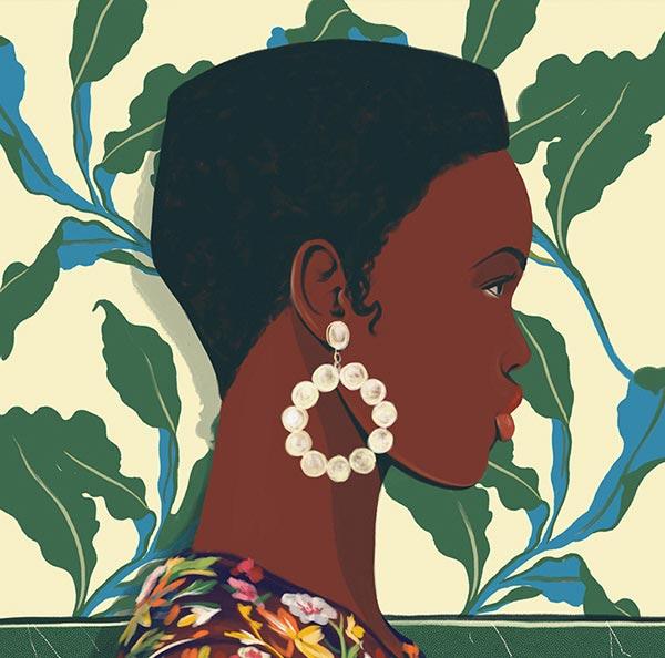 Ilustración de mujer con aretes blancos y fondo de hojas verdes.