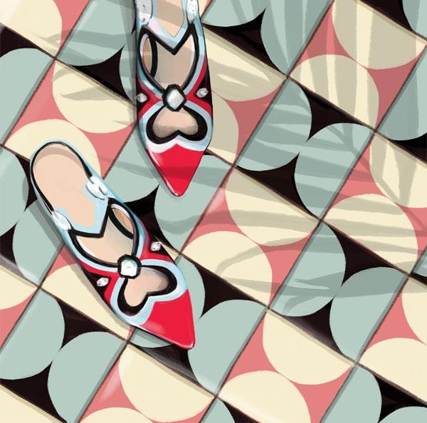 Ilustración de zapatillas azul y rojo en fondo de mosaicos de colores.