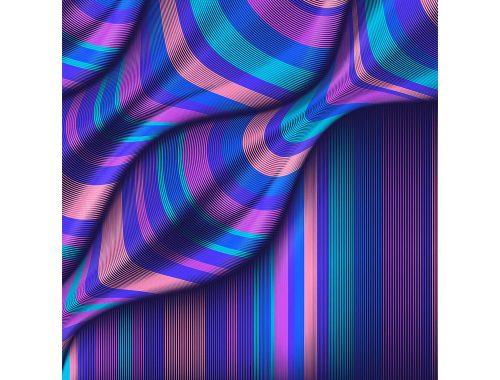 Kunstnerens kunstverk Mario de Meyer av blå, rosa og lilla linjer.