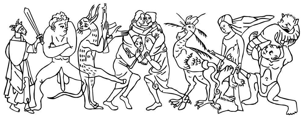 Svart og hvitt tegninger av representasjoner av samfunnet figurer.