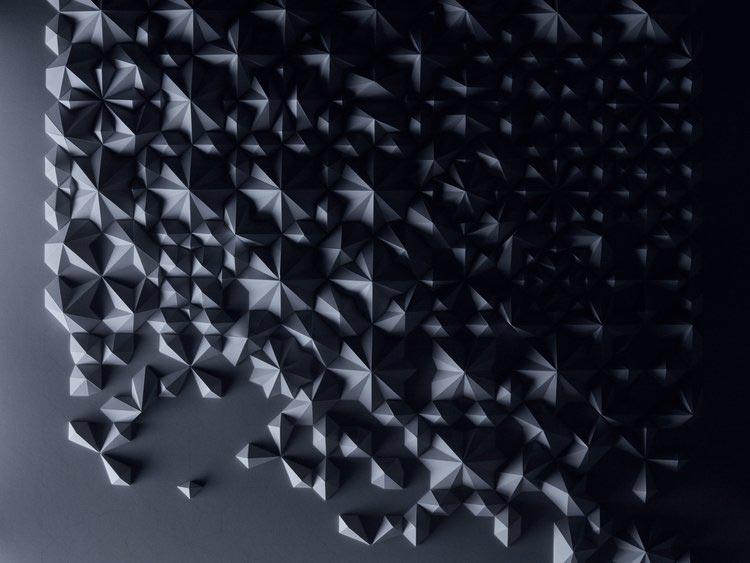 Γλυπτό χαρτιού σε γκρι τόνους του καλλιτέχνη Matthew Shlian.