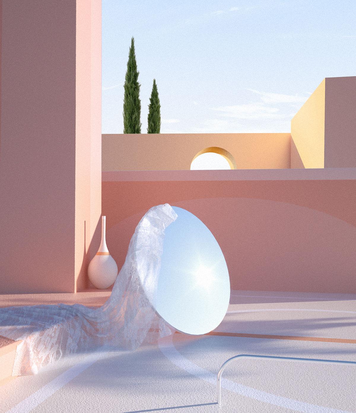 Espacio arquitectónico de tonos rosas con espejo circular.