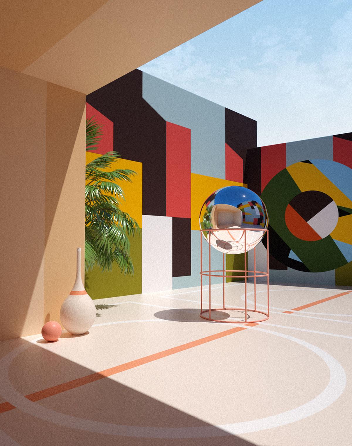 Muros de figuras multicolor con escultura de esfera transparente.