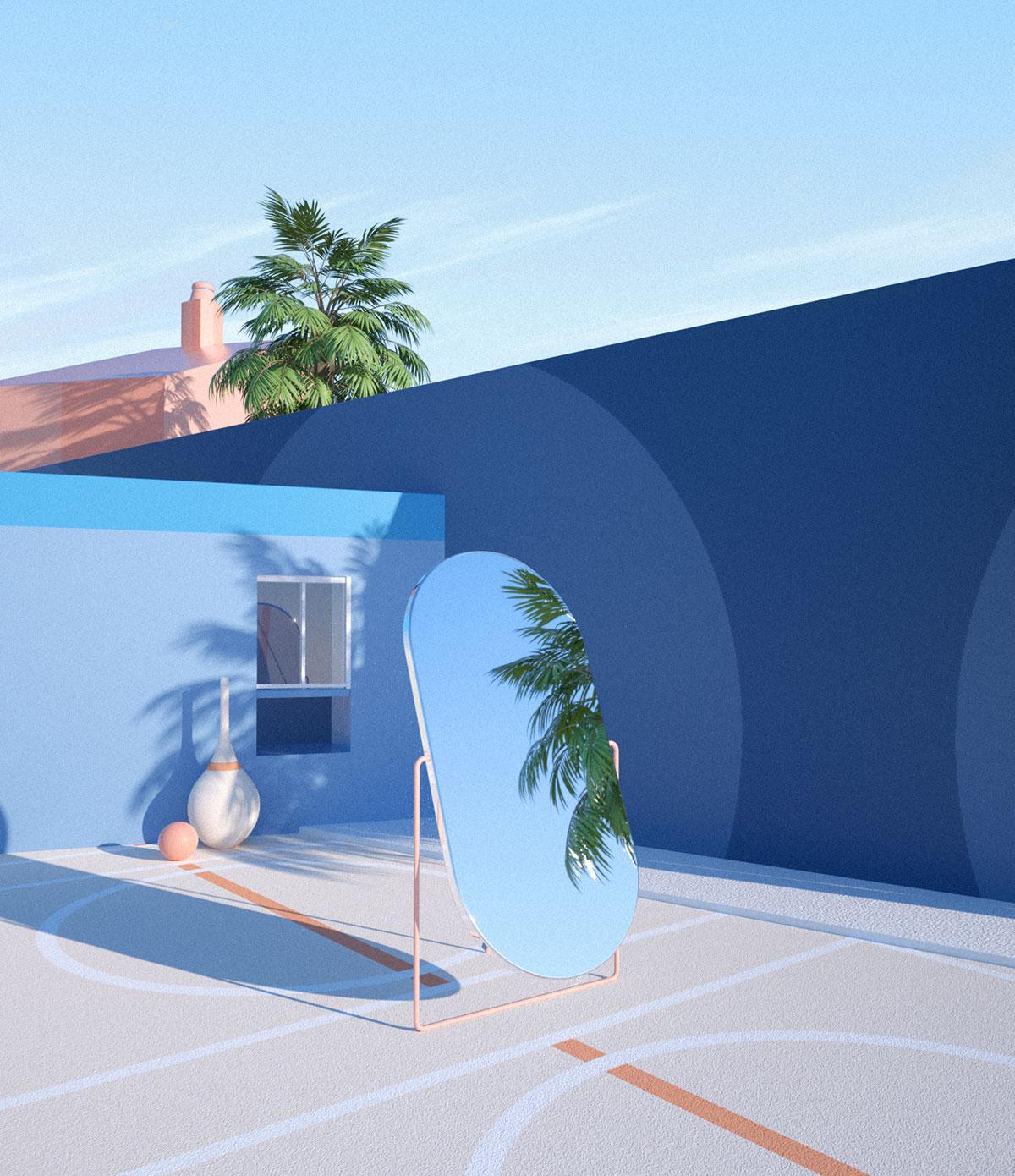 Exterior de casa azul con espejo y palmeras.