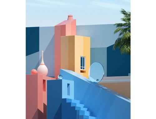 Afbeelding van fantasieconstructies van verschillende kleuren uitgewerkt door de kunstenaar Matieu LB