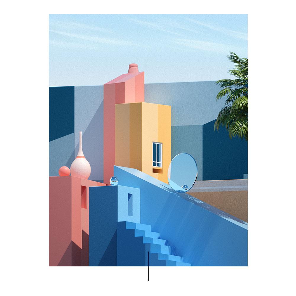 Immagine di costruzioni fantasy di diversi colori elaborate dall'artista Matieu LB