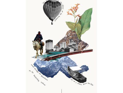 इमारतों, पर्वत, गर्म हवा के गुब्बारे, घोड़े की पीठ पर आदमी और हरी पत्तियों की छवियों का कोलाज