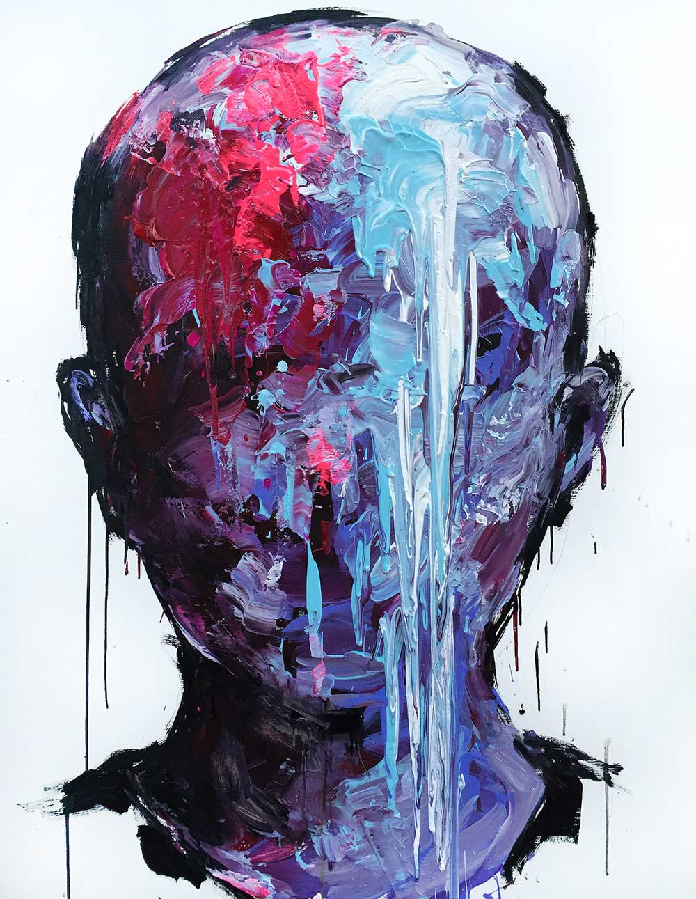 Retrato de tonalidades azules y rojas del artista KwangHo Shin