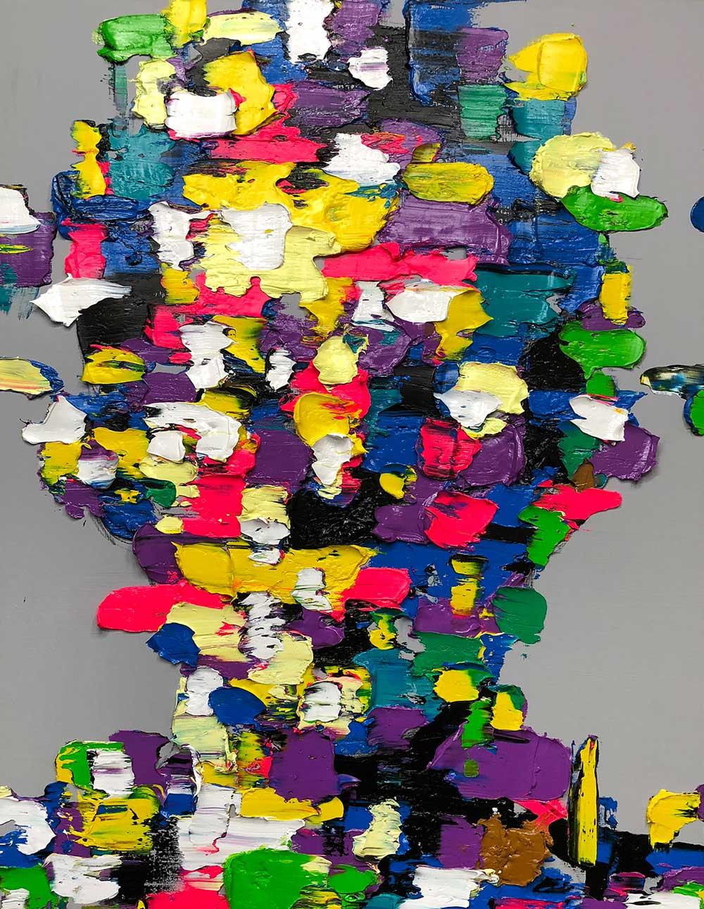 Retrato de colores amarillo, verde, blanco, azul, morado, negro y rosa del artista KwangHo Shin.