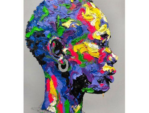 Retrato de perfil de tonalidades azules con manchas rosas, gris, amarillo, verde y blanco del artista KwangHo Shin.