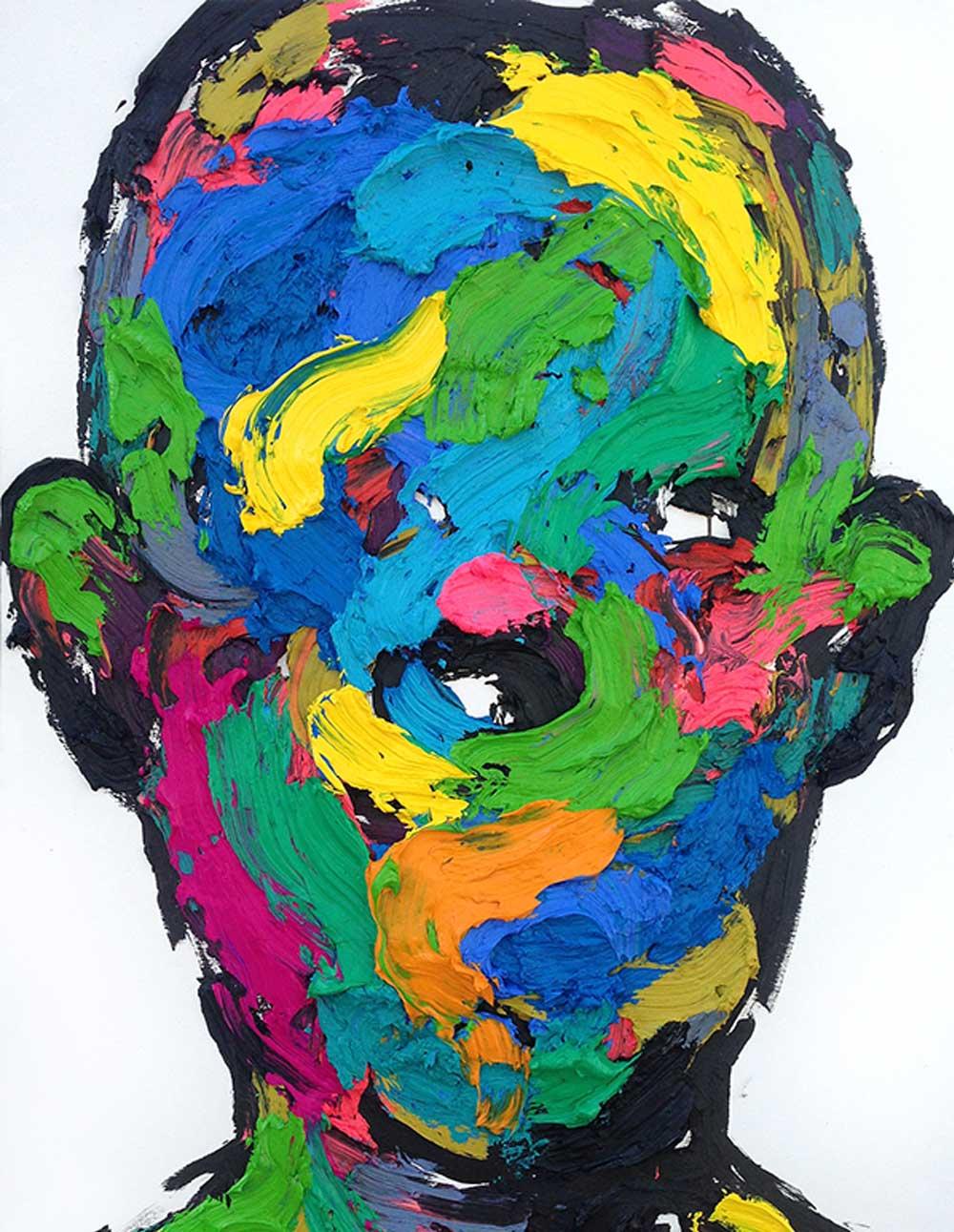 Retrato que combina diferentes colores y texturas del artista KwangHo Shin.