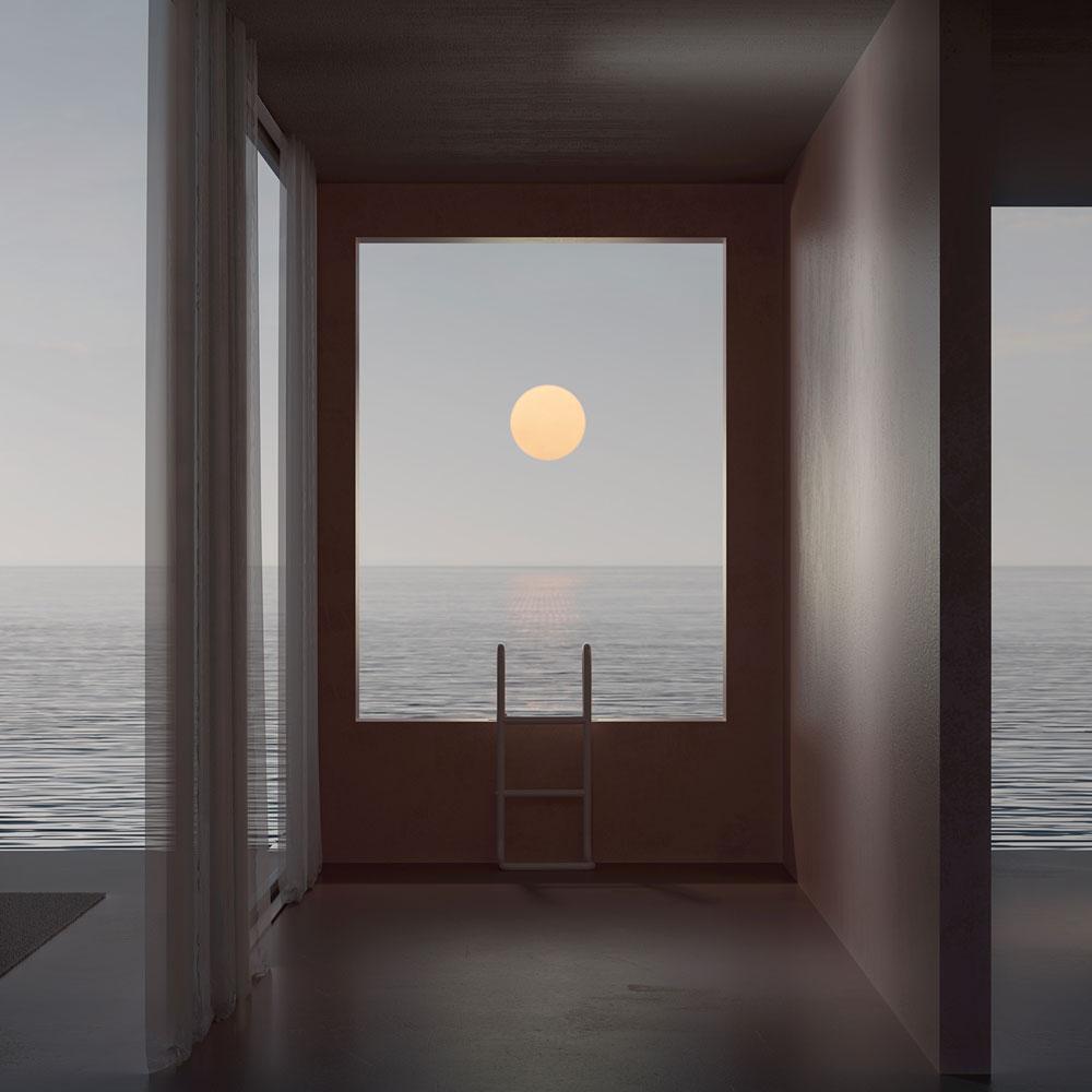 Ventana, escalera y paisaje de mar y sol.