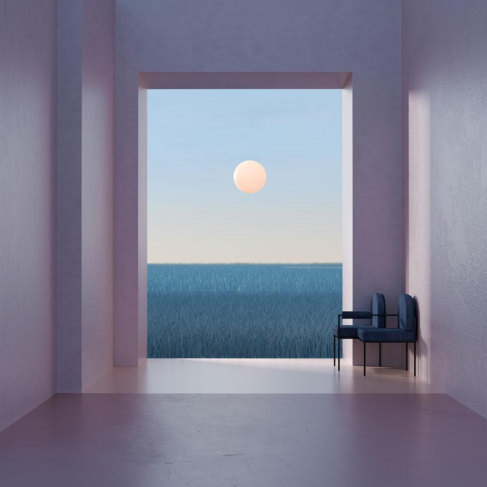 Espacio vacío, dos sillas y paisaje de mar y sol.