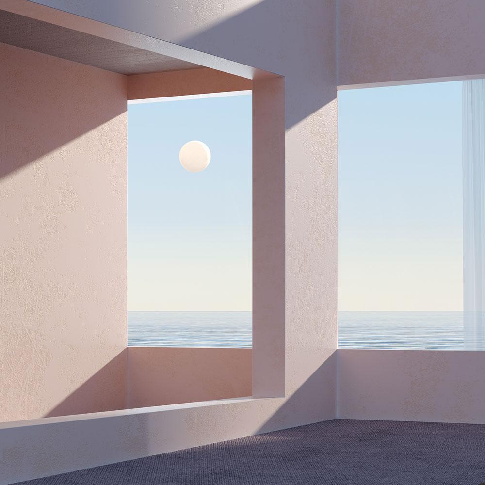 Espacio arquitectónico con fondo de mar, cielo y sol.
