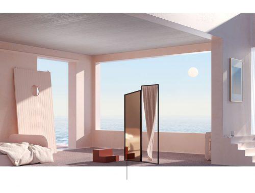 Habitación con escaleras y espejo.