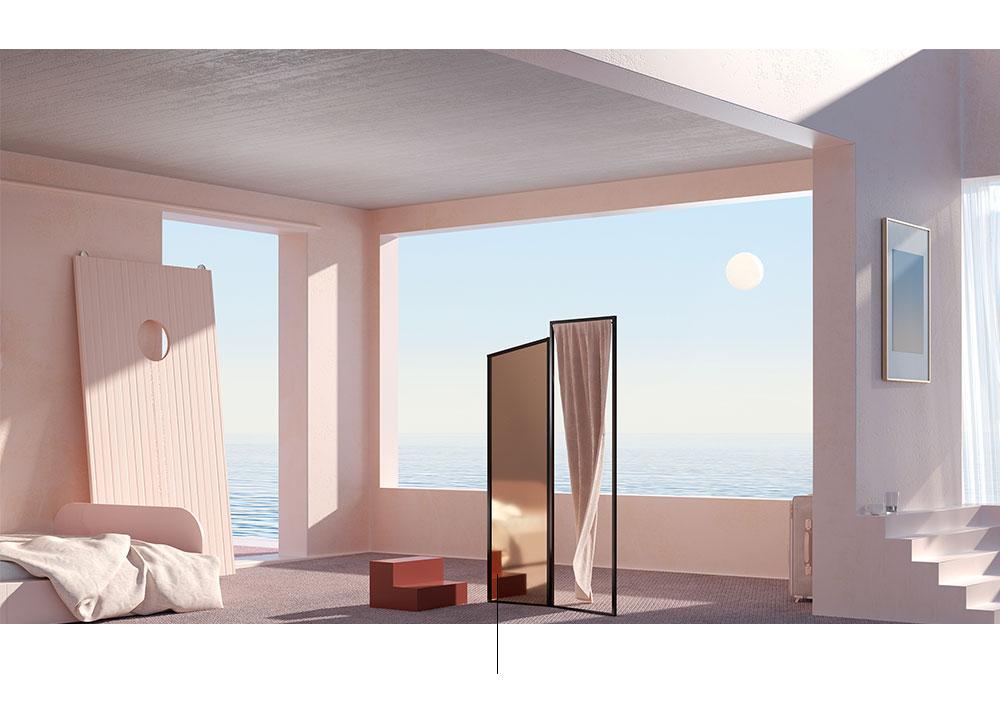 Sala com escadas e espelho.