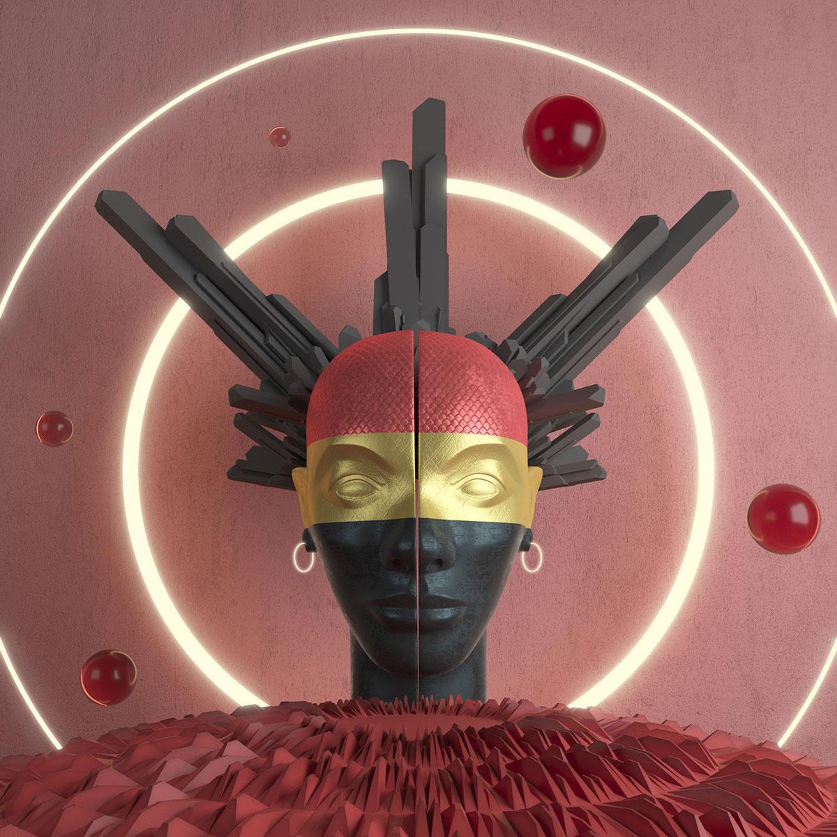Γλυπτική του προσώπου με μαύρο, χρυσό και κόκκινο πρόσωπο.