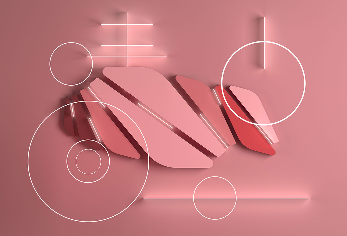 Escultura de color rosa del artista Timur Mitin inspirada en el arte del origami.